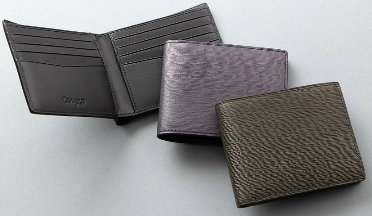 Mens Leather Store波模様二つ折り財布(小銭入れ無し)